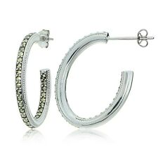 Sterling Silver Marcasite Inside Out Oval Half Hoop Earrings
