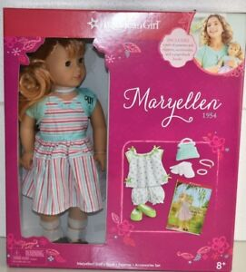 Neuf Énorme Ensemble American Girl Maryellen 1954 Doll Livre Accessoires Pj Même