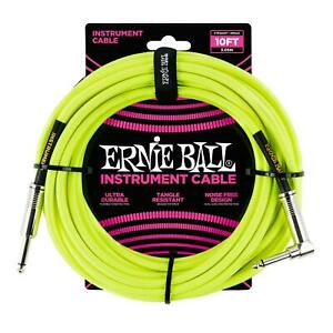 Ernie Ball 10ft Braided Instrument Guitar Cable Straight/Angle Yellow