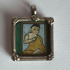 Vintage Silver Pendant Of Handpainted Indian lady or Buddha Pendant or charm 1''