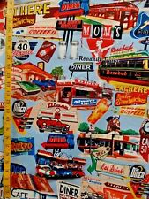 OPEN 24 HOURS DINER PRINT ON BLUE 100% COTTON FABRIC BY THE 1/2 YARD