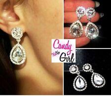 Teardrop Crystal Diamante Rhinestone Sparkle Evening Bridal Party Drop Earrings