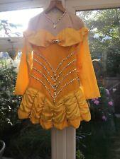 ££REDUCED Disney Belle Irish Dance solo Dress Yellow Velvet Satin 10-13Yrs