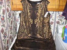 WOMENS DRESS SIZE 22W 1X 2X XLARGE BLACK/GOLD HOLIDAY DRESS RETAIL $86.00 NWTAGS
