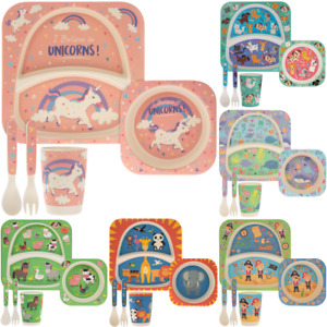 Bamboo Eco Kids Eating Set Friendly Dinner Set Cutlery Feeding Bowl Animal Plate