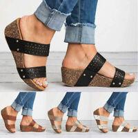 Women's Ladies Wedge Med Heels Sandals Peep Toe Summer Toe Ring Slip On Shoes
