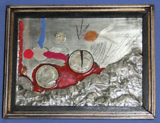 Vintage Hand Crafted Abstract Metal Art Work Collage Plaque