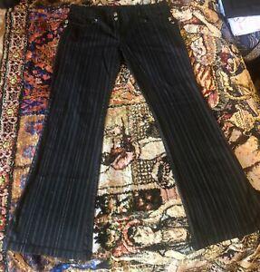 Vintage Lip Service Pants Hot Topic Black W/Gray Pin Strip Boot Cut Sexy Fit!