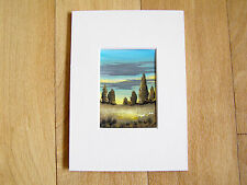ACEO WATERCOLOUR PAINTING, ART CARD BY SARAH FEATHERSTONE, SUNSET SKY, LANDSCAPE