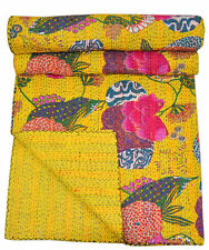 Indian Handmade King Size Yellow Cotton Patchwork kantha quilts Bedspread Throw