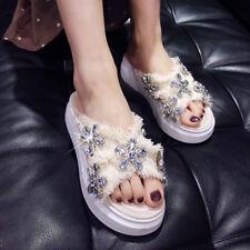 Women's Rhinestone Flower Open Toe Slippers Indoor Outdoor Flat Shoes Size 8