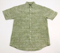 J. PETERMAN Men's Medium Green Polka Dot Linen Short Sleeve Button Front Shirt