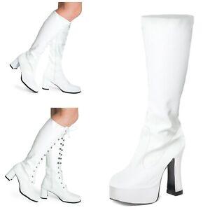 White Matt Women's Ladies Knee High Disco Platform Standard Eyelet GoGo Boots