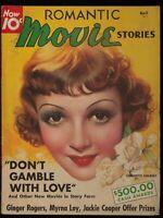 Romantic Movie Stories April 1936 Vintage Magazine Featuring Claudia Colbert