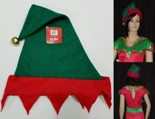 Lot of 6 Elf Christmas Hats Dance Costume Green & Red Felt with Bell Accessory