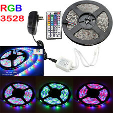5M 3528 SMD RGB 300 LED Strip Light with 44 Keys Remote Control 12V Power Supply