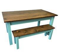 Vintage Blue Farmhouse Table (Rustic Harvest Farmhouse Kitchen Dinning Table)