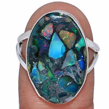 Ethiopian Opal In Pyrite 925 Sterling Silver Ring Jewelry s.8.5