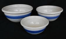 Wonderful American Pottery 3 Piece Mixing Bowl Set Blue Stripe Marshall, Texas