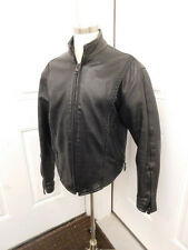 BLACK LEATHER JACKET WOMENS MOTORCYCLE SIZE M LOVE LEATHERS BRAIDED TRIM
