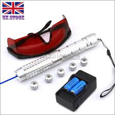 BQ9-C 1MW 450nm Blue Laser Pointer Lazer Pen & Battery&Charger&Goggles&5 Caps UK
