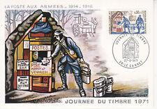 Carte Postale maximum 1971 1er jour - Journée du timbre La Poste aux Armées