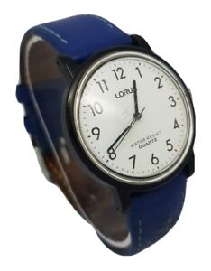 Lorus Men Date Black Leather Plastic Black White Dial Watch **New Battery** A8