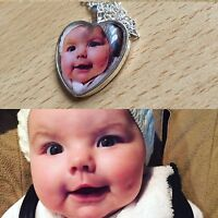Personalised Photo Heart Glass Dome Necklace & Pendant - Wedding Birthday Gift.