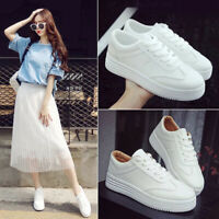 Summer Women's Casual White Sports Sneakers Breathable Platform Lace Up Shoes #