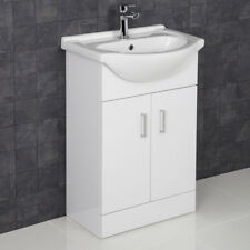 550mm Floorstanding Bathroom Vanity Unit & Basin Single Tap Hole White Gloss