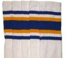 "30"" OVER THE KNEE WHITE tube socks with ROYAL BLUE/GOLD stripes style 4 (30-1)"