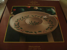 "Lenox Holiday Chip & Dip Serving 12"" One Piece Bowl Serving NWT Holly Christmas"