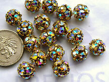 8 x Preciosa 10mm Crystal AB beadballs on gold finish