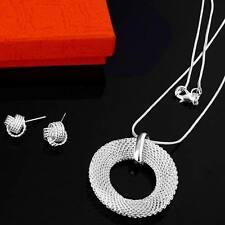 women lady silver Plated Fashion Beautiful pretty Mesh Necklace Earring set P54