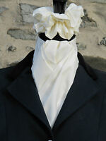 Ready Tied Plain Ivory Cotton Riding Stock & Scrunchie - Dressage Hunting Tie