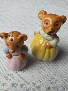 Vintage Novelty Ceramic salt and pepper potsĺ Mother & Daughter Mouse  9 & 7cm