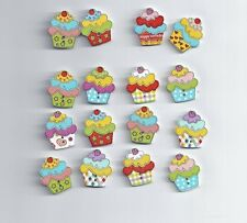 10Pcs Ice Cream Wood Buttons Clothing 25*22mm Sewing DIY Craft Scrapbook (129)