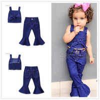 Toddler Baby Girls Jeans Outfits Tops +Denim Flared Pants Kids Outfits Set