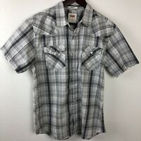Levis Mens Pearl Snap Shirt, Gray Medium
