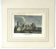 Antique Engraving 1783 Naworth Castle Cumberland- Hooper-Hand Coloured