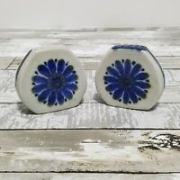Salt and Pepper Shakers - Vintage Set - Blue Flower - Palomar Mexican Pottery