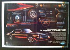 1980 CHEVY CAMARO SS vintage AD IROC *Z28/rs/302/350/427/396/v8/decal/yenko
