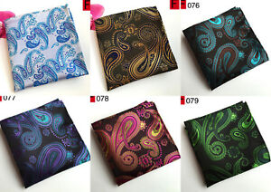 Silver Blue Brown Purple Brown Green Paisley Pocket Square Handkerchief