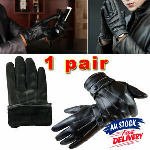 PU Leather Men's Driving Winter Glove Wrist Cool Touch Screen Warm Full Finger