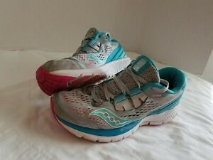 Saucony Women's Size US 7.5 Running Athletic Shoes -Grey/Blue/Pink Zealot ISO 3