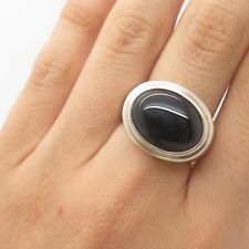 J. Esposito 925 Sterling Silver Real Black Onyx Gemstone Ring Size 6 3/4