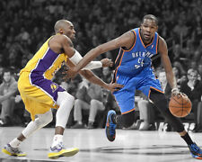 Thunder KEVIN DURANT vs Lakers KOBE BRYANT Glossy 8x10 Photo Spotlight Poster
