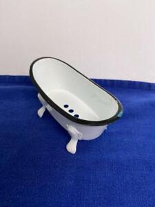 "Novelty Enamelware White w Black Trim Old fashioned Bathtub Soap Holder 5.5 x 3"""