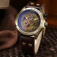 Men Automatic Mechanical Skeleton Bronze Leather Band Wrist Business Watch Mv