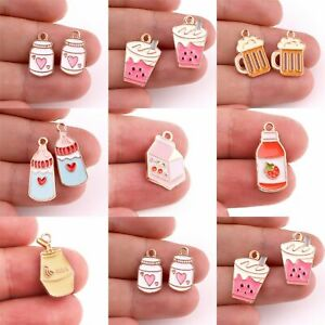 10pcs Coffee Cup Alloy Charms Baby Bottles Enamels Pendants Jewelry Making Acces